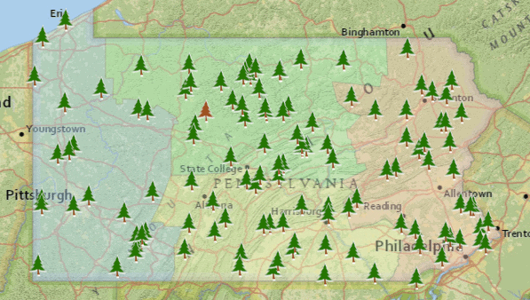 PA State Parks Map from PADCNR