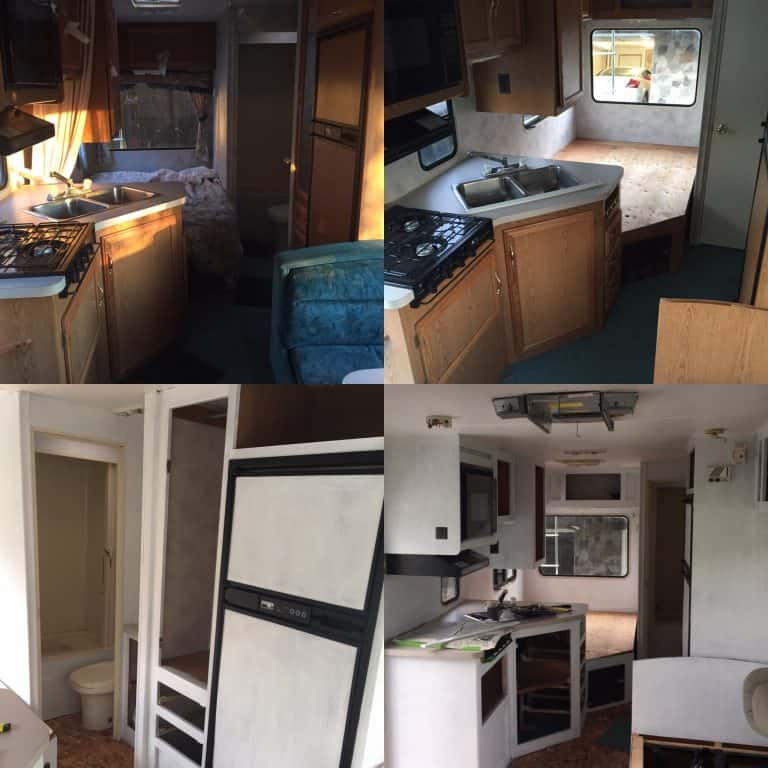 rv cabinet interior before and after teal