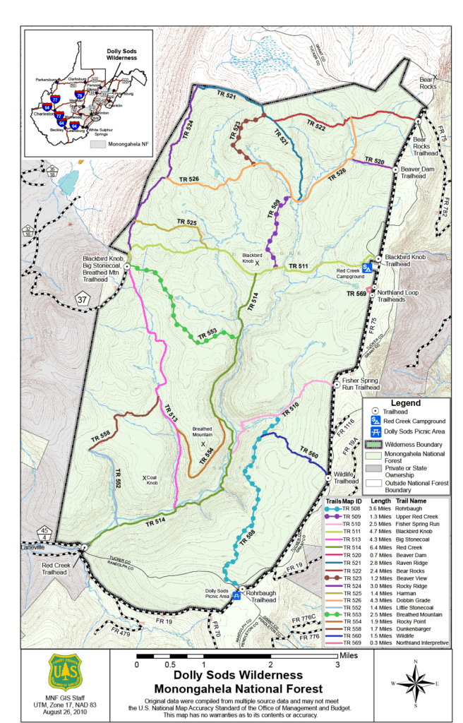 Dolly Sods Trail Map