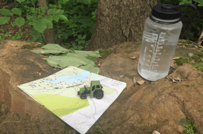 water bottle and state park trail map