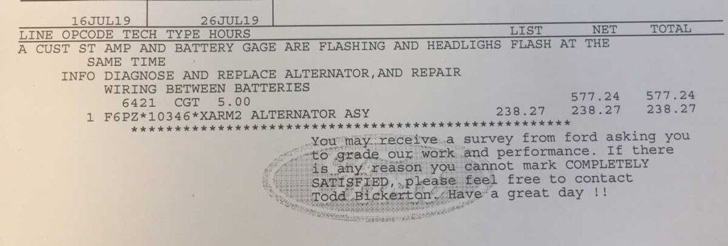 rv alternator and wiring repairs invoice