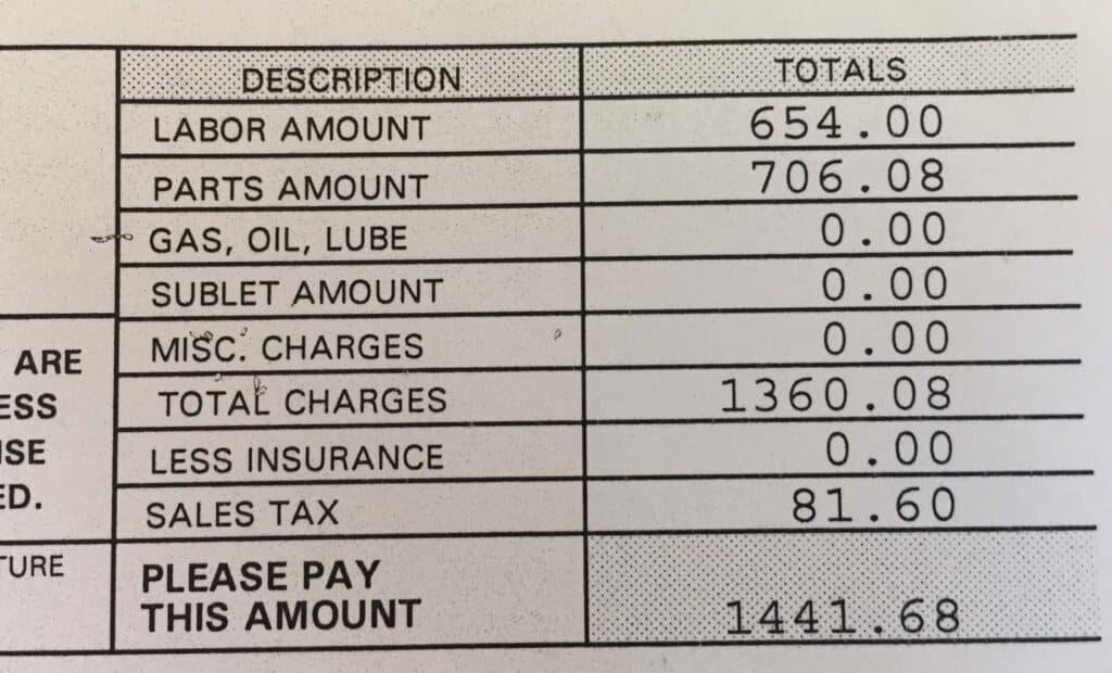 rv brake repair cost total