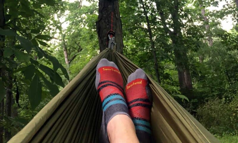 smartwool hiking socks in hammock