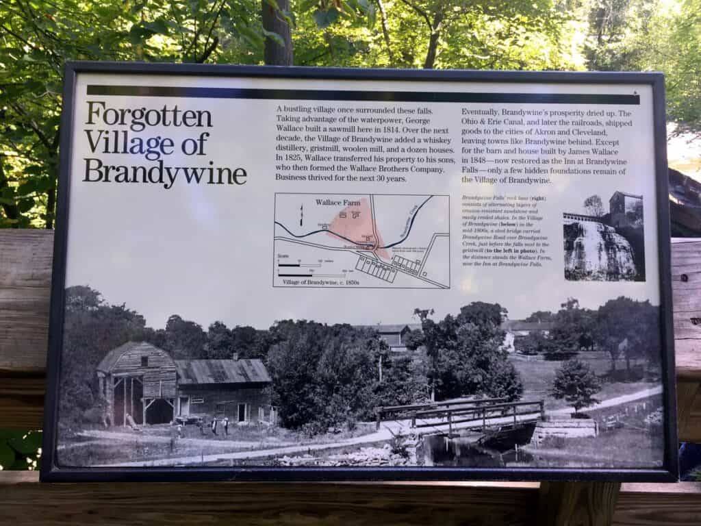 Brandywine Falls history board