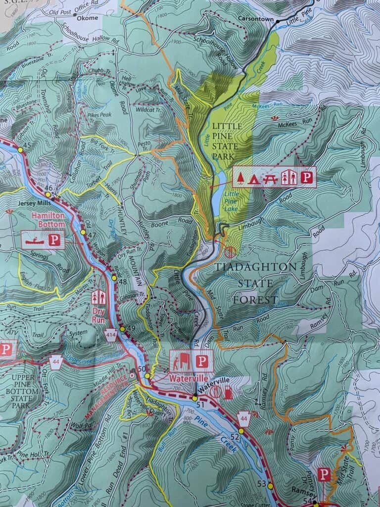 pine creek rail trail map near little pine state park