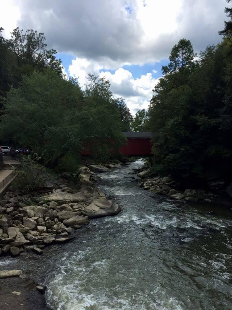 covered bridge in slippery rock creek gorge