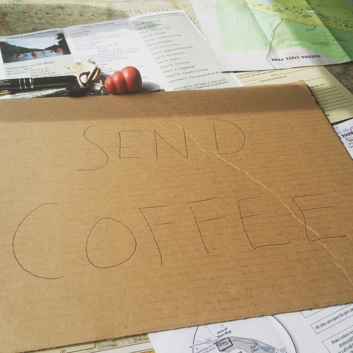 road trip tails send coffee
