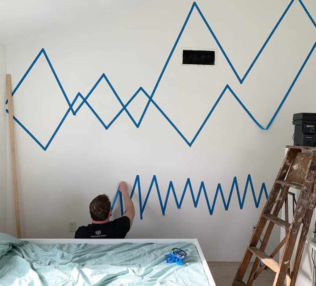 mountain wall painting tape