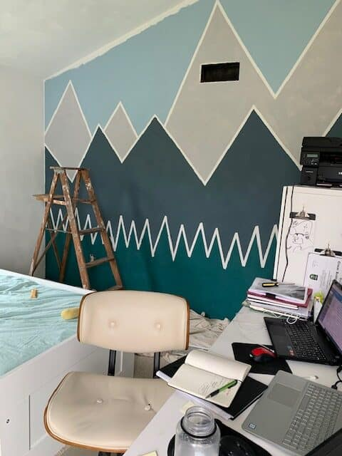 mountain wall with desk