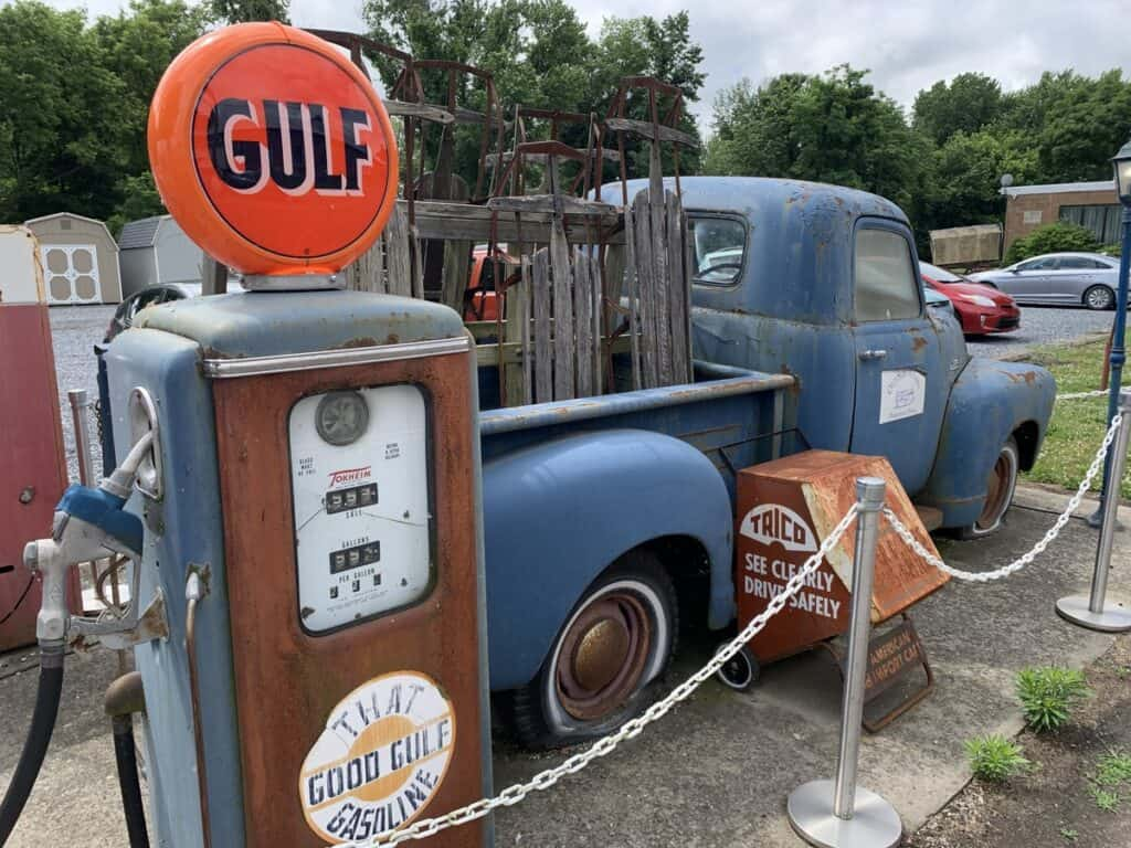 old sled works truck and gas