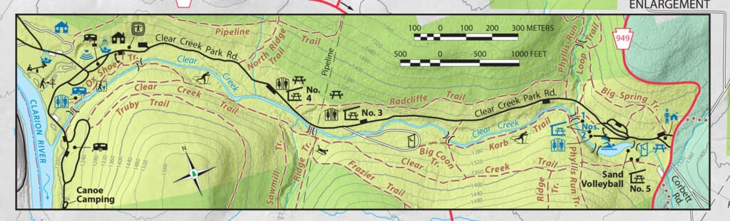 clear creek state park trail map snippet