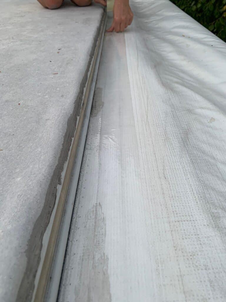 rv awning repair job pressing tape
