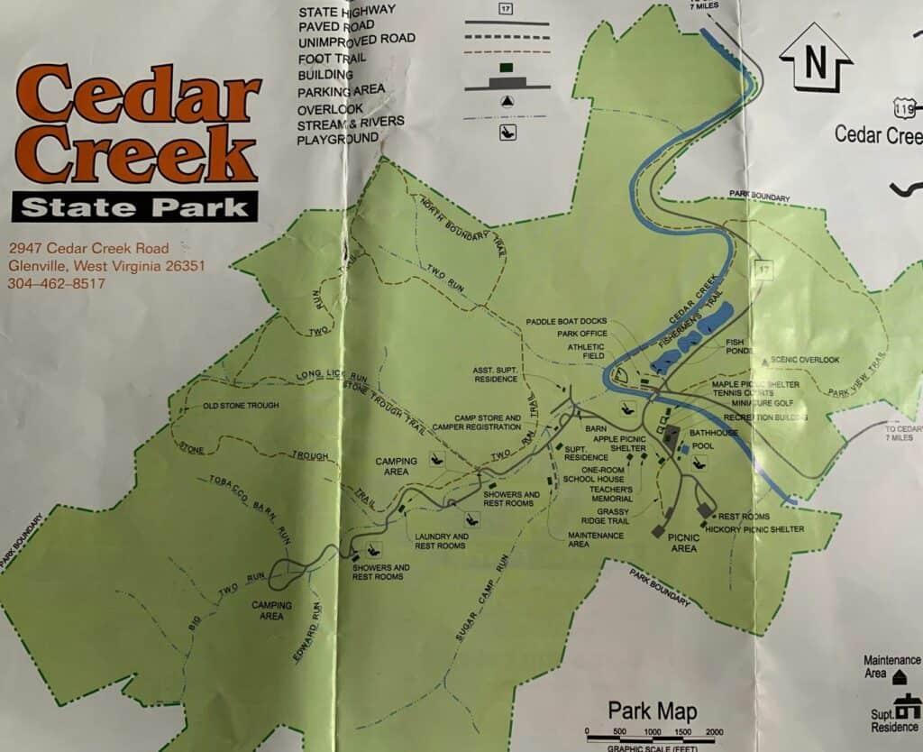 cedar creek state park hiking map